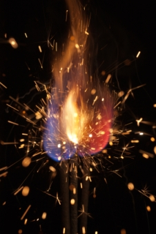 pyrotechnic burning fire and sparks